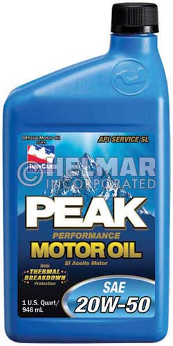 Mo 5050 Peak Sae 20w 50 Motor Oil 1 Quart Chemicals Omb